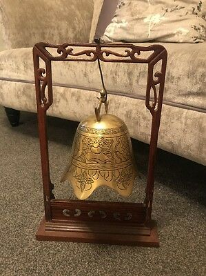 Chinese brass temple bell on carved wood inlaid stand with Dragons Japanese