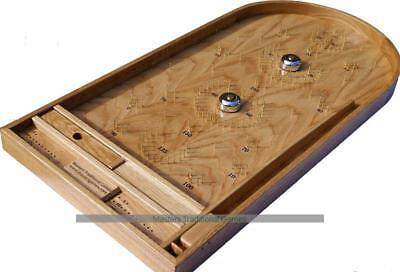 Hand-made Oak Bagatelle game with bells and plunger