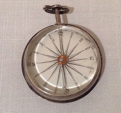 Solid Silver Georgian Pocket Compass Hallmarked London 1813 in Working Order