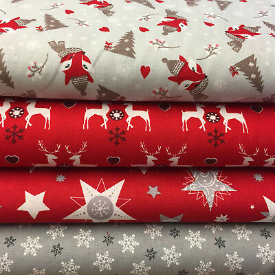 Fat Quarter Fabric Bundle Festive Christmas Silver Foxes Stags Squirrel Red F76