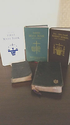 VINTAGE LOT OF PRAYER/MASS & HYMN BOOKS (5 Differnt from 1925-1970 !!) (WOW !!)