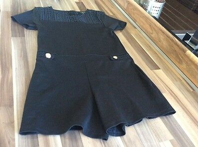 Girls Black River Island Shorts Playsuit Size 11/12years