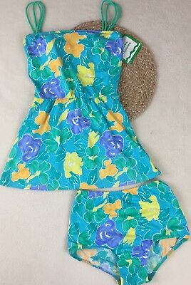 Sea Waves Vintage Two Piece Swimsuit, Teal Floral, Skirt, High waisted Sz 12