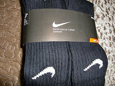 NEW 6Prs NIKE Boys Girls CREW socks Black 5Y-7Y Performance Moist Wick cotton
