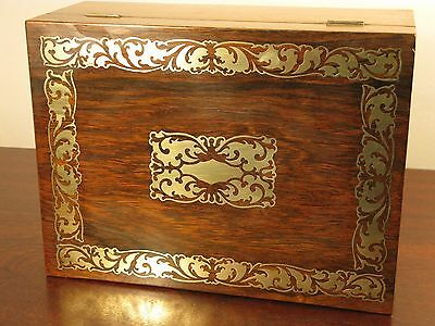 Vintage Antique Victorian Ladies Work Sewing Box Brass Rosewood Boulle Cabinet