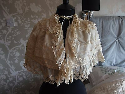 antique Victorian child's or capelet silk Broderie Anglaise cape Christening