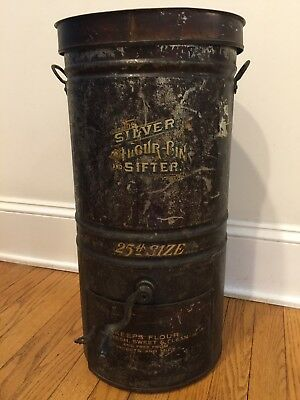 Rare Vintage Silver Flour Bin & Sifter 1800's Completely I intact