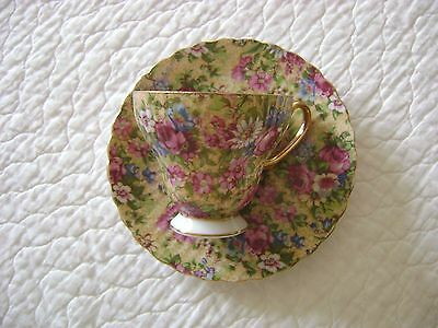Vintage Inarco Japan Cup and Saucer Chintz Roses and Flowers