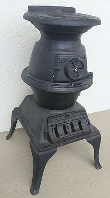 Atlanta Stove Works Cast Iron Pot Belly Stove EXC Cond #40 Wood/Coal Complete!