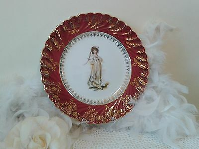 Limoges red plate hand painted Pinky by Lawrence and gold filigree pattern, deco