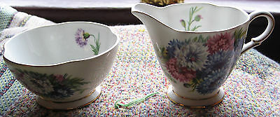 Windsor Bone China Harvest Glory Creamer & Open Sugar Bowl