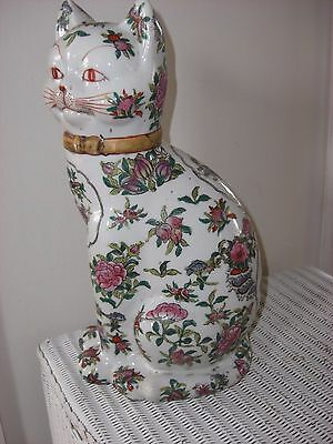 Antique Canton Large  Famille Rose Cat,signed,approx 35Cms High