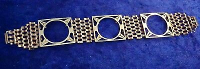 "Attractive 9Ct Yellow Gold 3 Victorian Sovereign Mounted 7"" Gate Bracelet"