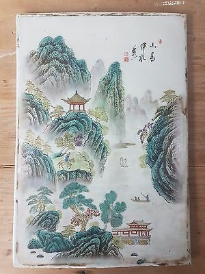 Chinese porcelain handpainted plaque Republic famille rose perfect, signed