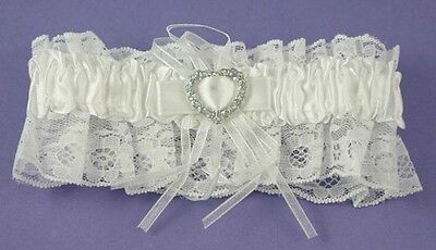 Wedding BRIDAL White Lace Garter Heart Diamante Bride To Be Gift Good Luck Charm