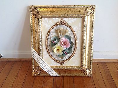 Capo-di-Monte Porcelain flowers hand crafted with beautiful trim and 16X14 frame