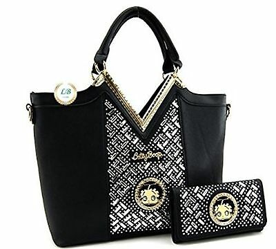 Betty Boop Black Textured Vinyl Rhinestone Premium Purse Handbag and Wallet