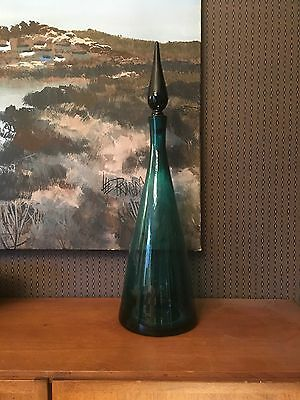Vintage Blenko 920 Winslow Anderson Genie Decanter Aqua Glass Bottle 1950s 1959