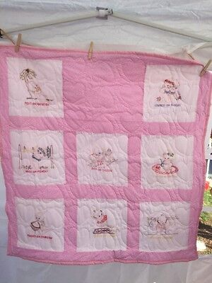 Embroidered Pink/Grils baby quilt hand made