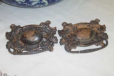 "Pair of Vintage Ornate Pressed Metal Dresser Pulls-  Large, 5"" x 3"""