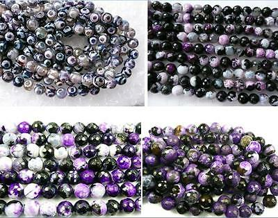 UKcheapest-Purple fire tibetan Agate round faceted 6 8 10 12mm gemstone beads