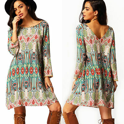 Womens Boho Floral Party Short Mini Dress Summer Beach Casual Loose Long Tops