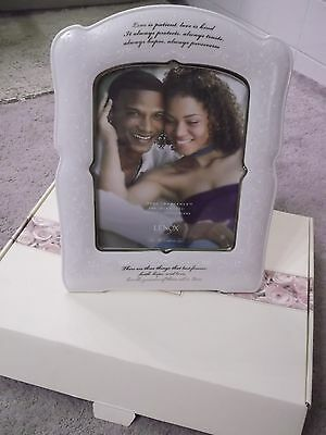 LENOX Opal Innocence Love is Patient 8x10 Picture Frame Wedding Gift Anniversary