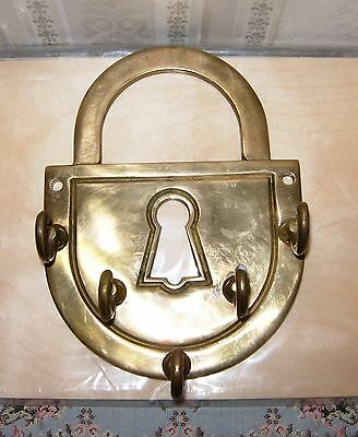 Vintage 5-Arm Solid Brass Wall-Mount Key Holder, England