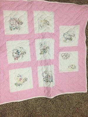 Princess Pink Baby Quilt - Hand Made with embroidered princess blocks