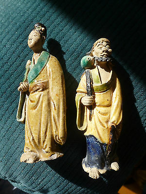 Pair of Antique Chinese Mudman and Mudwoman,  5 Inches High