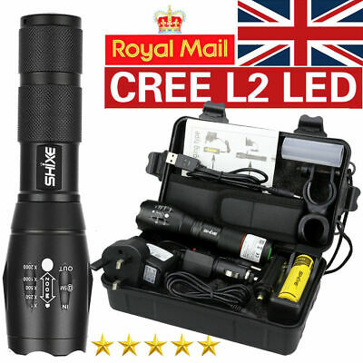 Tactical 8000LM XML-L2 Zoomable LED Flashlight Rechargeable Torch Lamp Light BOX