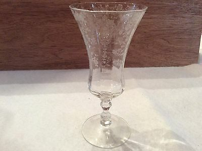 """Cambridge Rose Point Etched Iced Tea Goblet 7 5/8"""" Tall 12 Oz Crystal Clear Mint"""