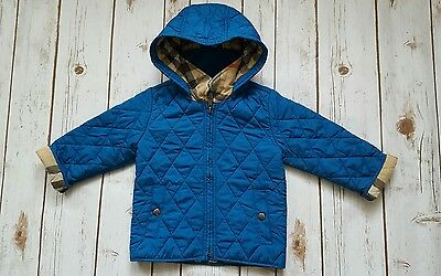 BURBERRY Baby Boys Designer Blue Quilted Jacket coat 18 -24 months