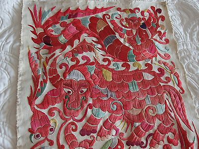 antique Chinese silk hand embroidery panel