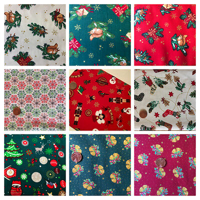 100/% Cotton Christmas Fabric by Metre Fat Quarters Festive Craft Sew Advent X119