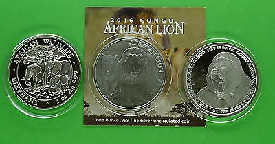 3 - World 999 Fine Silver 1 oz Coins - Lion, Gorilla, and Elephant * Ebay Bux *