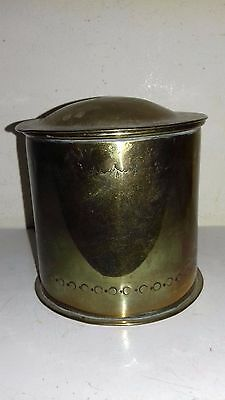 Antique arts and crafts brass canister with simple pattern