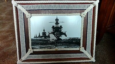 "Battleship convoy picture 19""H x 24""W.  Beautiful fancy rope work frame."