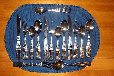 Set of 15 Coca Cola Flatware Contour Bottle Handle by Gibson Retired Stainless