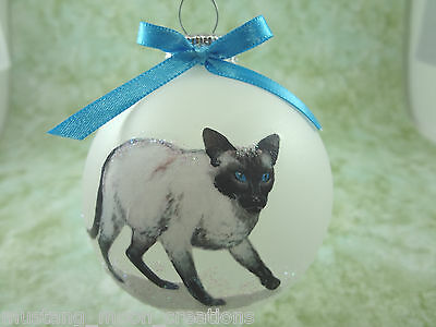 C001 Hand-made Christmas Ornament cat kitten - Siamese - Seal point