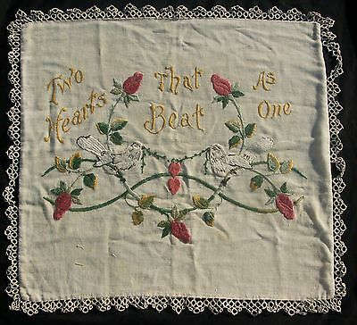 """Vintage Embroidery """"Two Hearts That Beat As One""""  Tapestry Pillow Love Birds"""