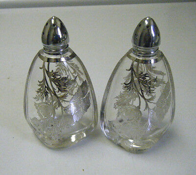 Vintage Glass Flanders Poppy Salt And Pepper Shakers With Silver Overlay