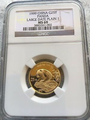 CHINA  PANDA 1999  NGC MS 69 1/4 oz  GOLD  LARGE DATE   PLAIN 1