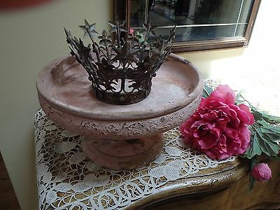 Antique Hand Turned Wooden Pedestal Dispaly  Bowl~ Shabby Chic Centerpiece
