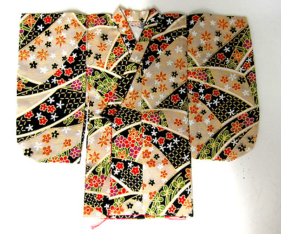 Japanese Handsewn Cotton Doll Kimono -  little Flowers