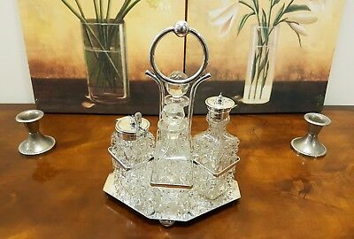 Antique - Silver plated Crystal condiment / cruet set - Henry Wilkinson ltd.