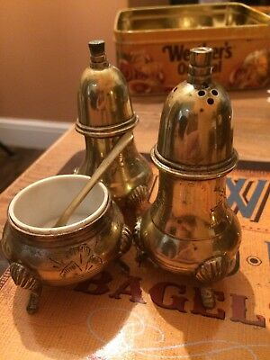 Vintage Brass Salt & Pepper With Spoon And Bowl