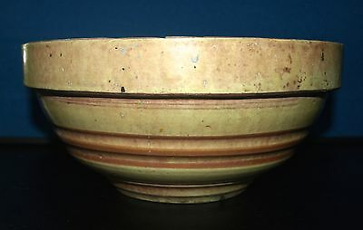 Antique banded Stoneware pottery mixing bowl