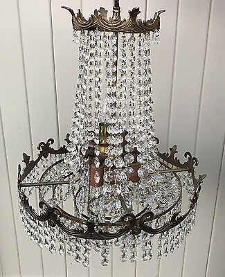Vintage Beautiful Ceiling Chandelier 6 Socket French Brass Crystal Lighting