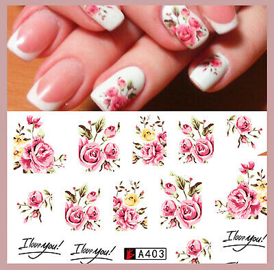 ❤️nouveau Stickers Roses  Bijoux Pour Ongles Water Decals Stickers Nail Art